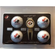 Ensemble-cadeau 4 balles et une fourchette à gazon avec marque-balles, Équipe Canada