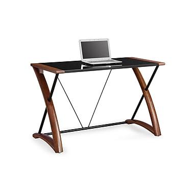 Whalen - Bureau d'ordinateur Sorano, 48 x 24 x 30 po, fini de matières mixtes - verre, métal et bois
