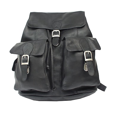 Piel Adventurer Large Buckle Flap Backpack; Black