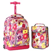 J World Lollipop Poppy Pansy 16'' Children's Rolling Backpack with Lunch Bag