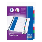 Bazic 3-Ring Binder Dividers w/ 10 Color Tabs; Case of 24