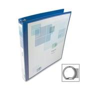 Wilson Jones Print-Won't-Stick Flexible Poly Round Ring View Binder, 1'' Capacity, Blue