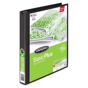 Wilson Jones Print-Won't-Stick Flexible Poly Round Ring View Binder, 1in Capacity, Clear; Black