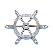 Handcrafted Nautical Decor 4'' Ship Wheel Paperweight; Chrome