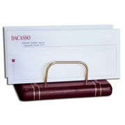 Dacasso 5800 Series Gold-Striped Leather Letter Holder in Burgundy