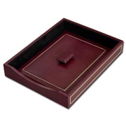Dacasso 5000 Series 24kt Gold Tooled Leather Front-Load Letter Tray w/ Lid in Burgundy