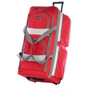 Olympia Eight Pocket 33'' Rolling Travel Duffel; Red