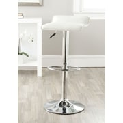 Safavieh Kemonti Adjustable Height Swivel Bar Stool with Cushion; White