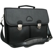 AmeriLeather World Class Leather Executive Briefcase; Black with Nickel Hardware
