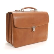 Tony Perotti Green Bella Russo Leather Laptop Briefcase; Honey