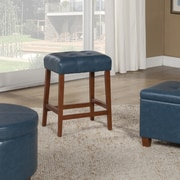 HomePop 24'' Bar Stool with Cushion; Teal