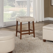 HomePop 24'' Bar Stool with Cushion; Ivory