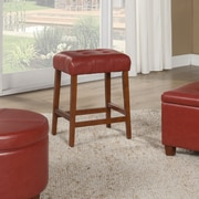 HomePop 24'' Bar Stool with Cushion; Cinnamon Red