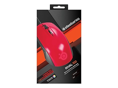 SteelSeries 62337 Rival 100 USB Wired Optical Gaming Mouse, Forged Red