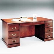 High Point Furniture Legacy Executive Desk with 6 Drawers; Wood Veneer Top With Molding
