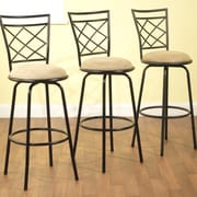 TMS Avery Adjustable Height Swivel Bar Stool with Cushion (Set of 3); Black