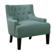 Poundex Bobkona Ansley Blended Linen Wingback Arm Chair; Light Blue