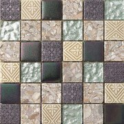 Intrend Tile 2'' x 2'' Textured Stone / Glass Hand-Painted Mosaic Tile in 3 Color Blend