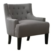 Poundex Bobkona Ansley Blended Linen Wingback Arm Chair; Grey