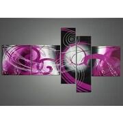 DesignArt Abstract 5 Piece Original Painting on Canvas Set in Purple
