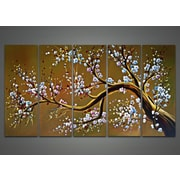 DesignArt Modern Floral Tree 5 Piece Original Painting on Canvas Set in Brown