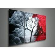 DesignArt Gloomy Day Mountain Landscape 3 Piece Original Painting on Canvas Set
