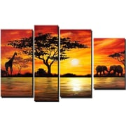 DesignArt Modern African Landscape 4 Piece Original Painting on Canvas Set