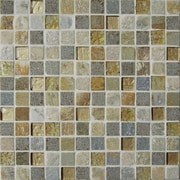 Intrend Tile Sandy Beach 1'' x 1'' Textured Stone / Glass Mosaic Tile in 3 Color Blend