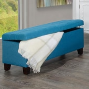 WorldWide HomeFurnishings Fabric Storage Ottoman; Blue