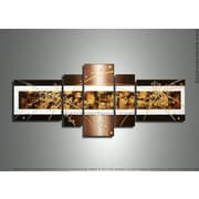 DesignArt Textured Abstract 5 Piece Original Painting on Canvas Set in Brown