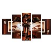 DesignArt Modern African Nature Tree 5 Piece Original Painting on Canvas Set