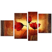 DesignArt Floral Textured 4 Piece Original Painting on Canvas Set in Glow