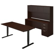 Bush Business Westfield Elite 72W Height Adjustable Table with Credenza and Hutch, Mocha Cherry, Installed