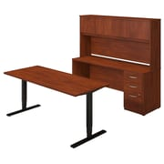 Bush Business Westfield Elite 72W Height Adjustable Table with Credenza and Hutch, Hansen Cherry, Installed