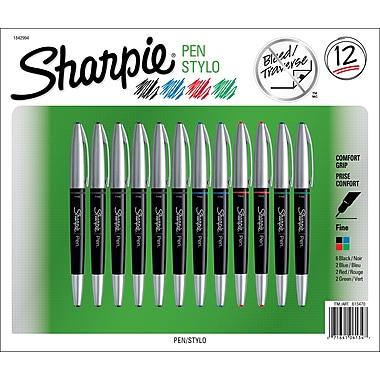Sharpie® Pen Grip, Fine, Assorted Colours, 12/Pack