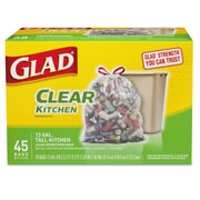 Glad® Recycling Tall Kitchen Drawstring Trash Bags, Clear, 13 Gallon, 45 Count, 4/Carton