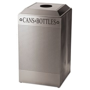 Rubbermaid Commercial Designer Line Silhouettes Recycling Receptacle, Can/bottle, Steel, 26gal, Silver