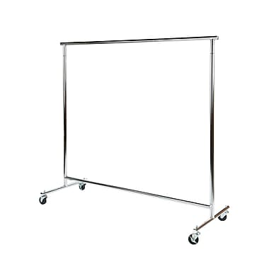 Can-Bramar SS1105-HD Single Rail Rolling Rack with Rubber Casters, Heavy Duty, Chrome