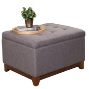 HomePop Upholstered Storage Cocktail Ottoman; Charcoal Gray