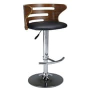 Creative Images International Adjustable Height Bar Stool with Cushion; Black
