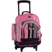 CalPak Awestruck Double Compartment Rolling Backpack; Pink