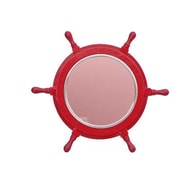 Handcrafted Nautical Decor Deluxe Class 18'' Ship Wheel Mirror; Red