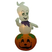 BZB Goods Animated Halloween Inflatable Ghost Casper on Pumpkin Indoor/Outdoor Decoration