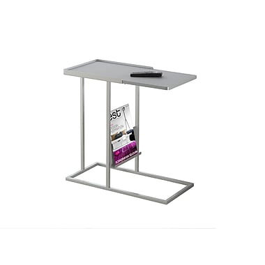 Monarch 3099 Accent Table, Grey, Silver Metal with a Magazine Rack