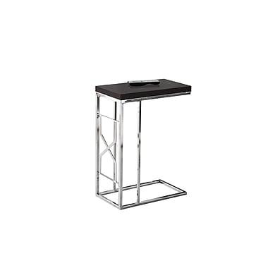 Monarch 3176 Accent Table, Cappuccino, Chrome Metal
