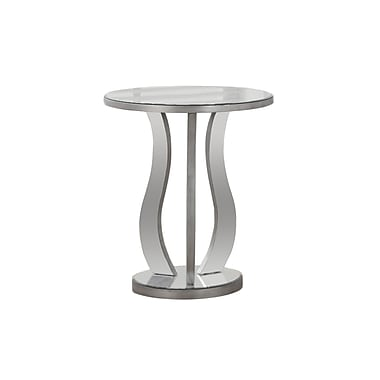 Monarch – Table basse 3726, 24 po de diamètre, argent brossé, miroitante