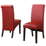 Modus Cosmo Leather Parson Chair (Set of 2); Ruby