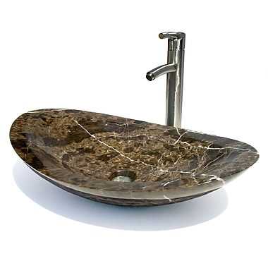 D'Vontz Oval Vessel Bathroom Sink; Dark Emperadore Marble