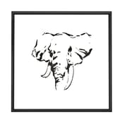 Majestic Mirror Square Abstract Elephant Black Shadow Box Art with Thin Semi Gloss Black Frame
