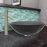 Vigo Sheer Black Glass Vessel Bathroom Sink and Dior Vessel Faucet with Pop Up; Sheer Black